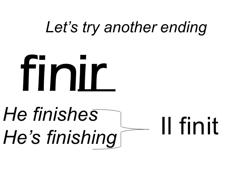 fin ir He finishes Hes finishing Il fin it Lets try another ending