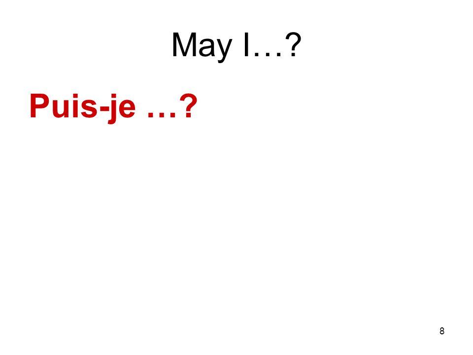 8 May I…? Puis-je …?