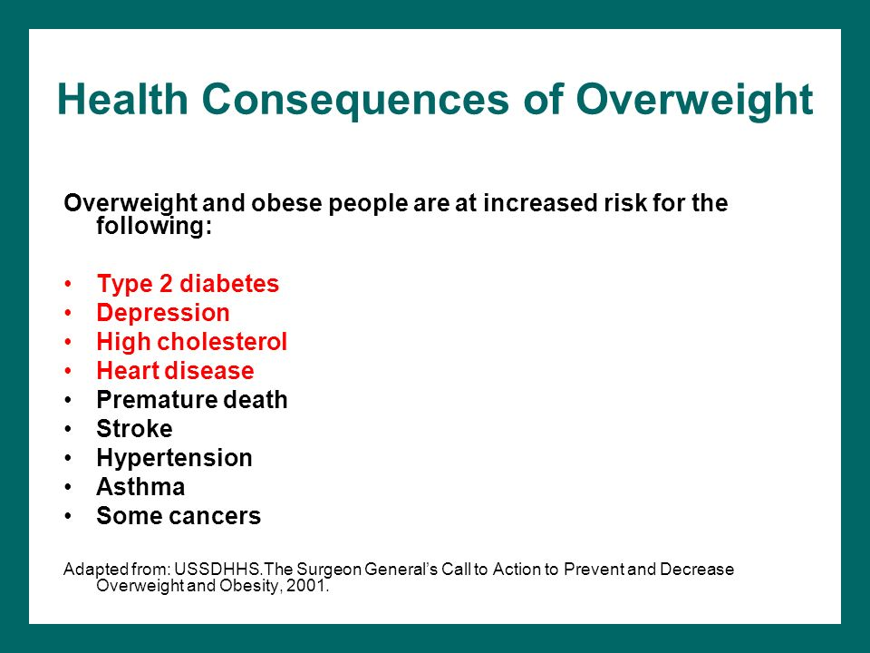 Health Consequences of Overweight Overweight and obese people are at increased risk for the following: Type 2 diabetes Depression High cholesterol Hea