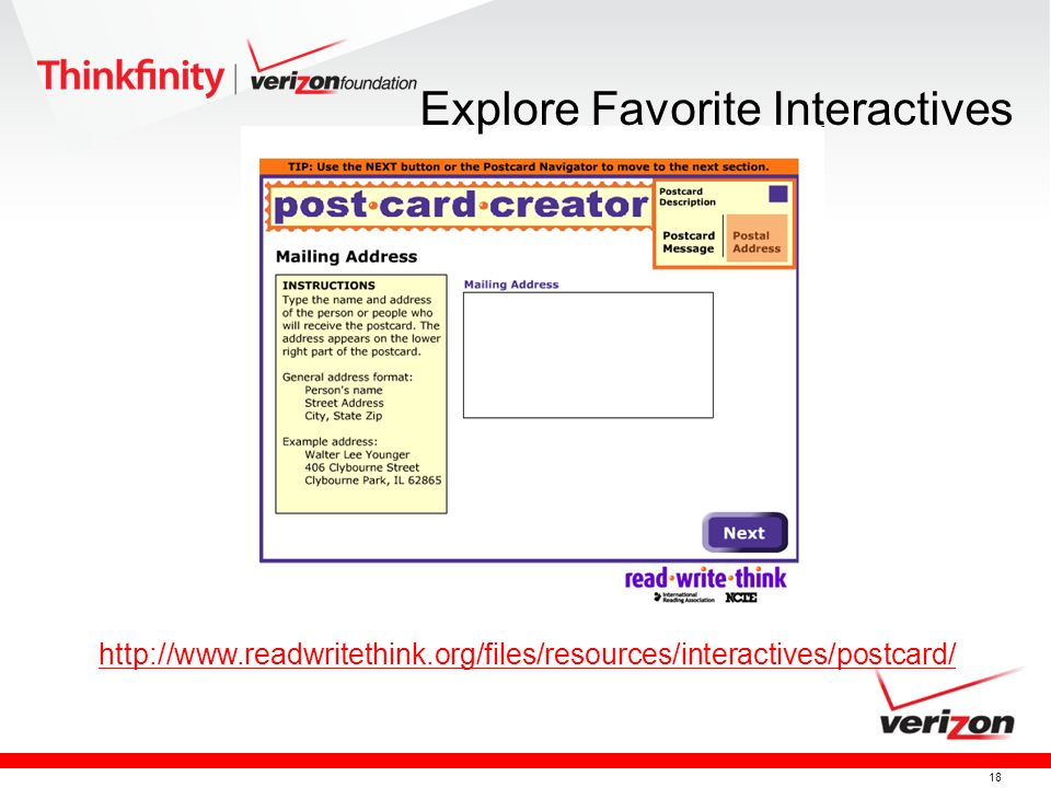 18 http://www.readwritethink.org/files/resources/interactives/postcard/ Explore Favorite Interactives