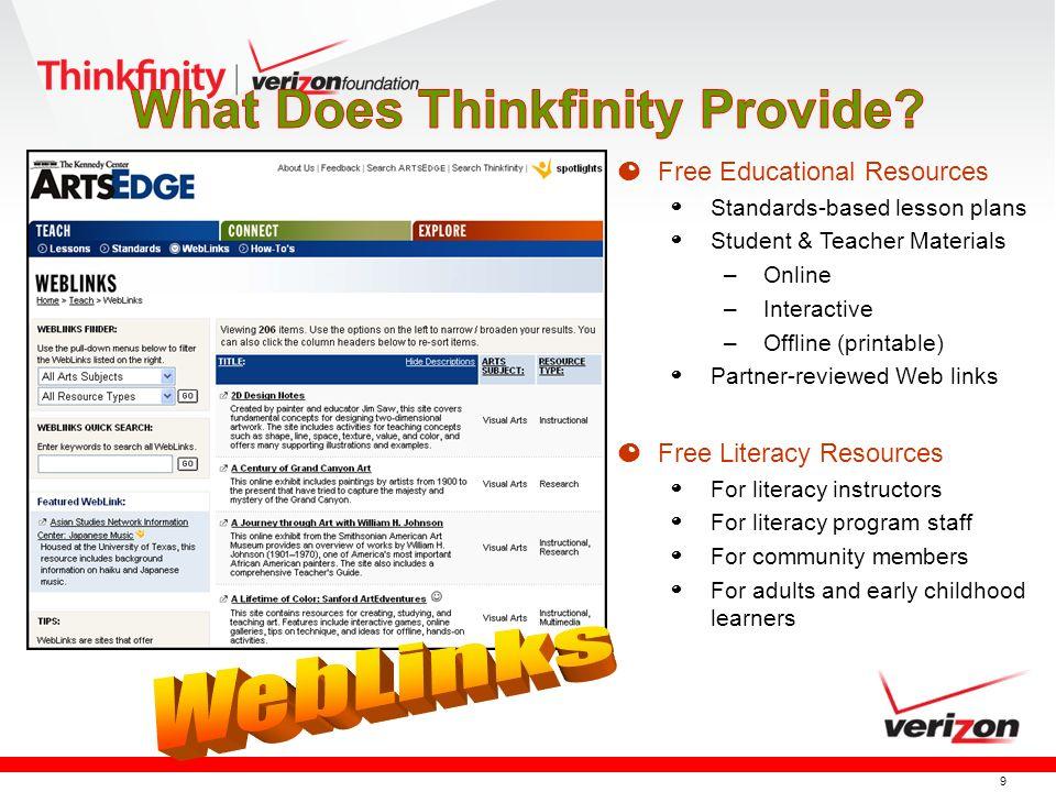 9 O Free Educational Resources º Standards-based lesson plans º Student & Teacher Materials –Online –Interactive –Offline (printable) º Partner-review
