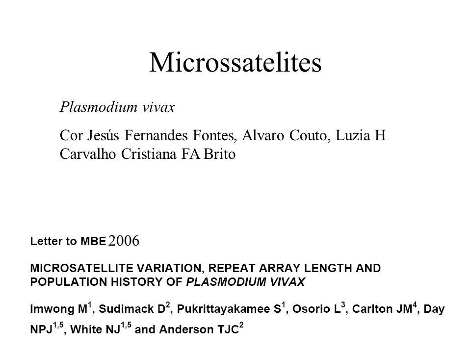 Microssatelites Plasmodium vivax Cor Jesús Fernandes Fontes, Alvaro Couto, Luzia H Carvalho Cristiana FA Brito 2006