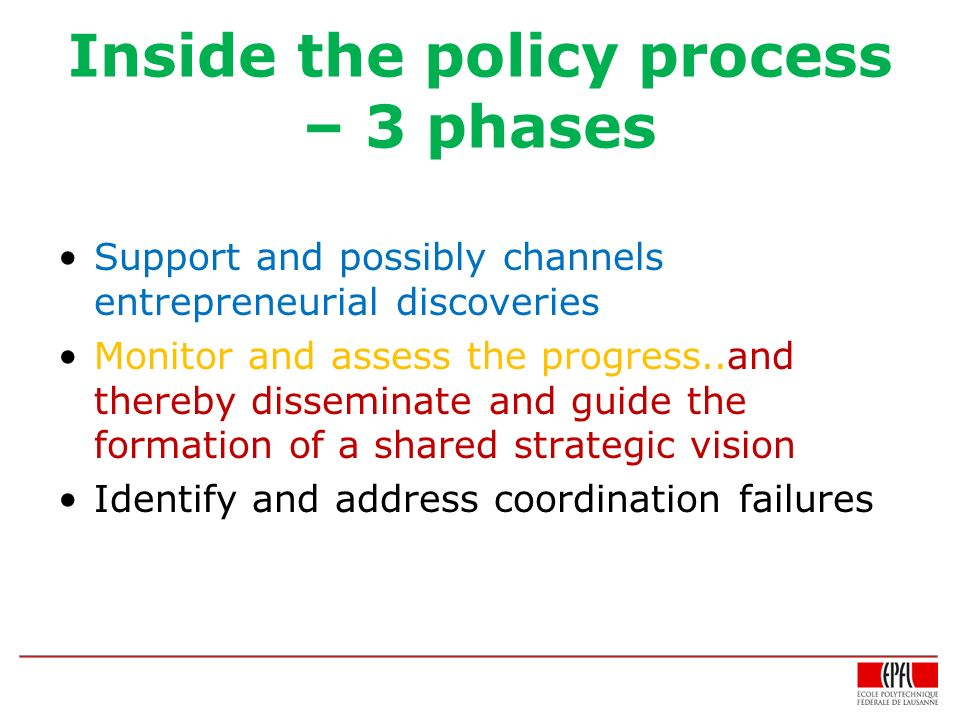 Inside the policy process – 3 phases Support and possibly channels entrepreneurial discoveries Monitor and assess the progress..and thereby disseminate and guide the formation of a shared strategic vision Identify and address coordination failures