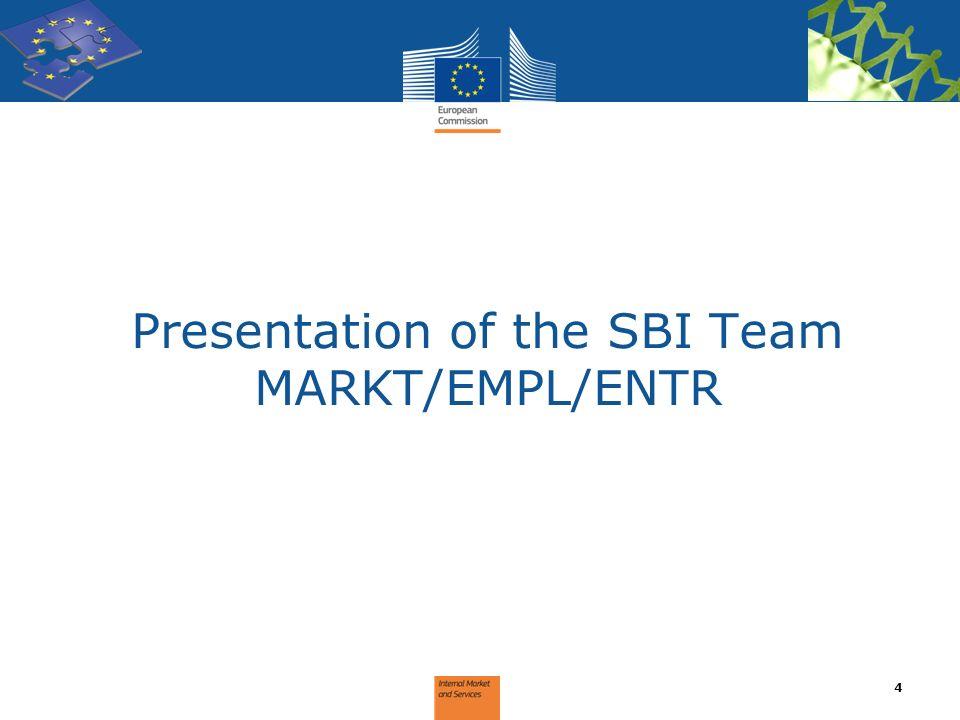 Presentation of the SBI Team MARKT/EMPL/ENTR 4