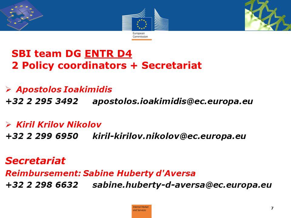 SBI team DG ENTR D4 2 Policy coordinators + Secretariat Apostolos Ioakimidis +32 2 295 3492apostolos.ioakimidis@ec.europa.eu Kiril Krilov Nikolov +32