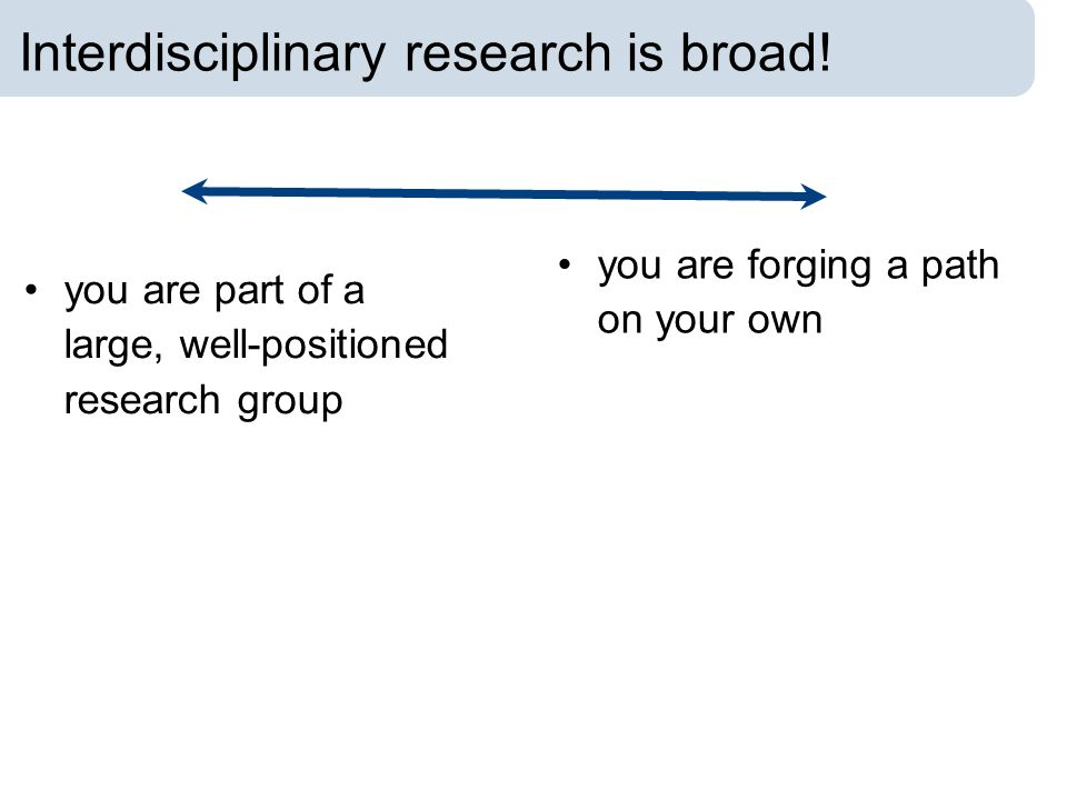 Interdisciplinary research is broad! you are part of a large, well-positioned research group you are forging a path on your own