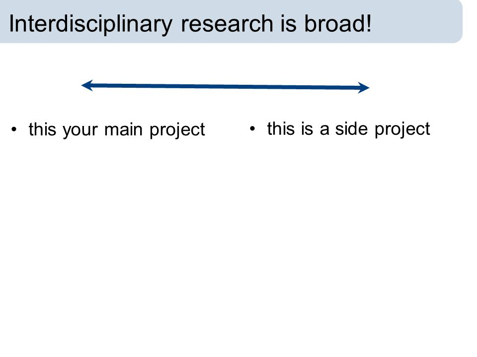 Interdisciplinary research is broad! this your main project this is a side project