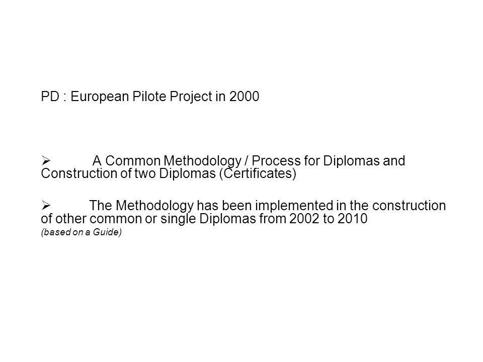 PD Methodology : Diplomas Construction based on a two Stages Architecture A Stage under national responsability Training Organisation and contents How and who in the assessment process (certification process) Who issues the Diploma A Common Stage shared by Stakeholders Activities targetted (what you have to do in a job) Inventory (référentiel) of vocational Competences (what you must be able to do in order to accomplish what have to be done) Inventory of Certification (what you have to certify)