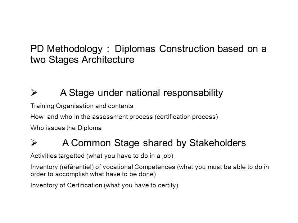 PD Methodology : Diplomas Construction based on a two Stages Architecture A Stage under national responsability Training Organisation and contents How