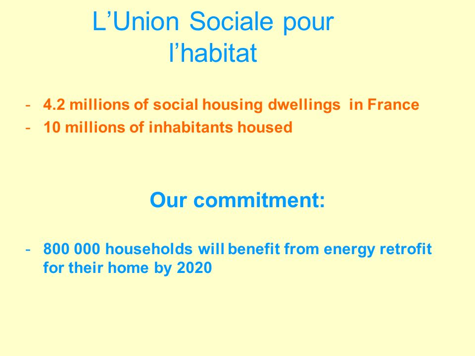 LUnion Sociale pour lhabitat -4.2 millions of social housing dwellings in France -10 millions of inhabitants housed Our commitment: -800 000 households will benefit from energy retrofit for their home by 2020