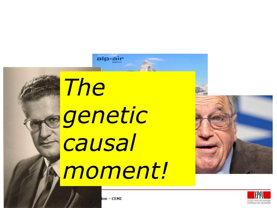 Collège du Management de la Technologie – CDM Chaire en Economie et Management de l'Innovation – CEMI The genetic causal moment!