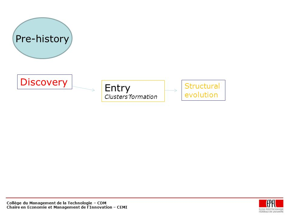 Collège du Management de la Technologie – CDM Chaire en Economie et Management de l'Innovation – CEMI Discovery Entry Clustersformation Structural evo