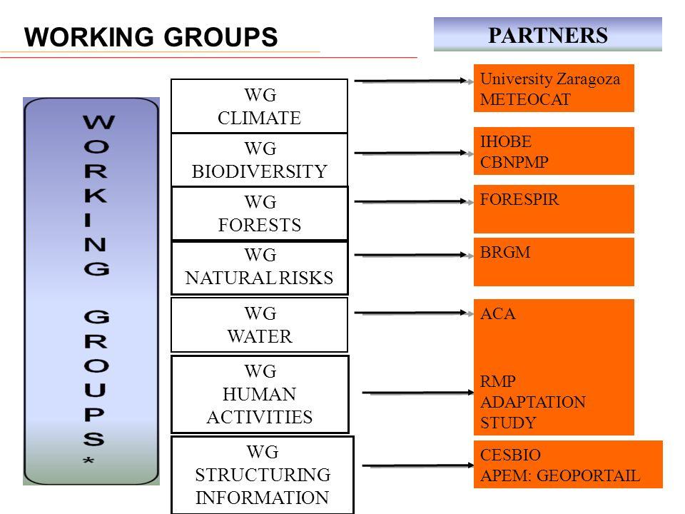 WG CLIMATE WG BIODIVERSITY WG FORESTS WG NATURAL RISKS WG WATER WG HUMAN ACTIVITIES WG STRUCTURING INFORMATION University Zaragoza METEOCAT IHOBE CBNP