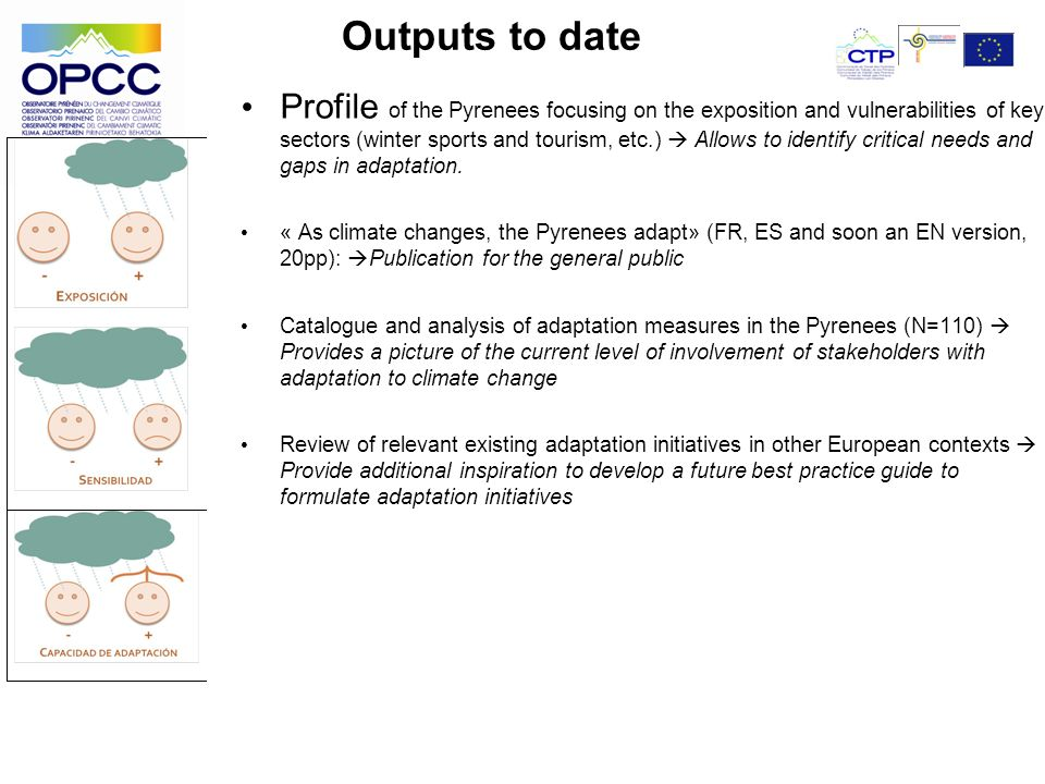 Outputs to date Profile of the Pyrenees focusing on the exposition and vulnerabilities of key sectors (winter sports and tourism, etc.) Allows to identify critical needs and gaps in adaptation.