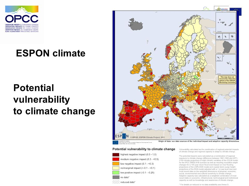 ESPON climate Potential vulnerability to climate change