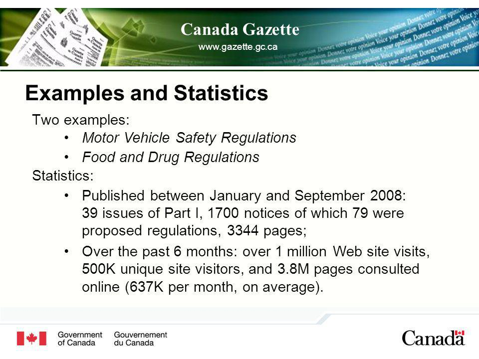 Canada Gazette Examples and Statistics Two examples: Statistics: Published between January and September 2008: 39 issues of Part I, 1700 notices of which 79 were proposed regulations, 3344 pages; Over the past 6 months: over 1 million Web site visits, 500K unique site visitors, and 3.8M pages consulted online (637K per month, on average).