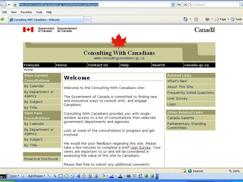 Communication Tools (continued) RSS News Feeds The Canada Gazette Directorate offers a free RSS News Feed service that allows online subscribers to be instantly informed of the latest notices on certain pre-selected topics offered as soon as they are published in Part I.