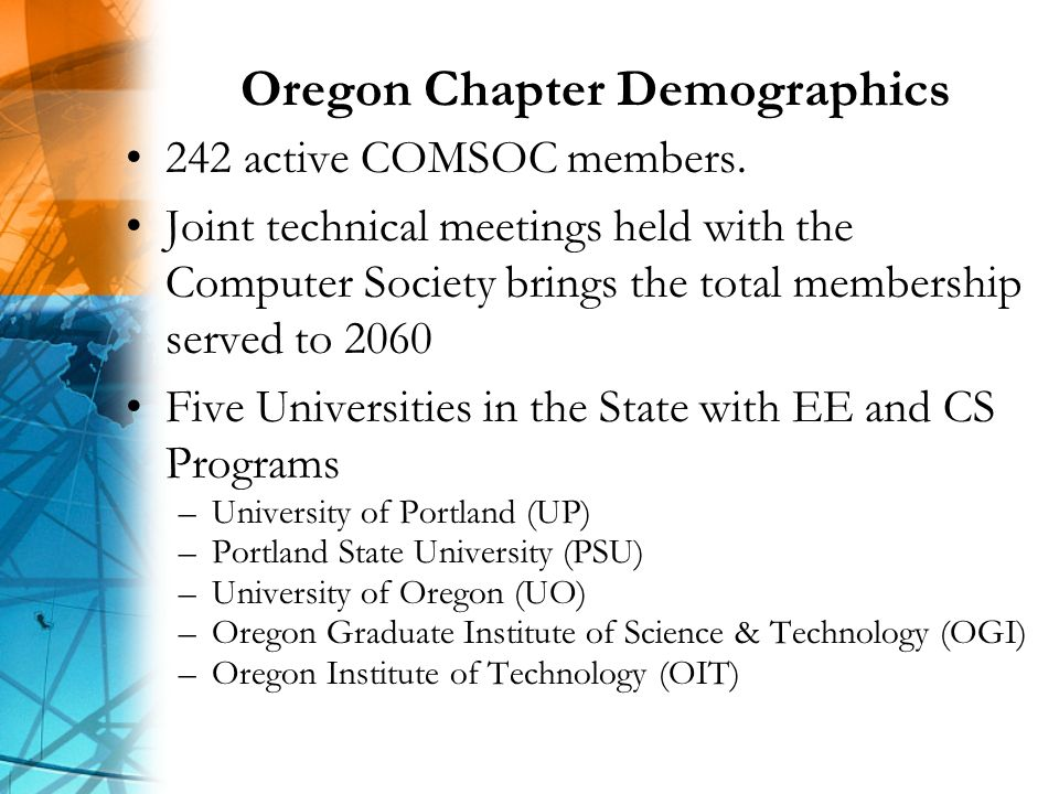 Oregon Chapter Demographics 242 active COMSOC members.