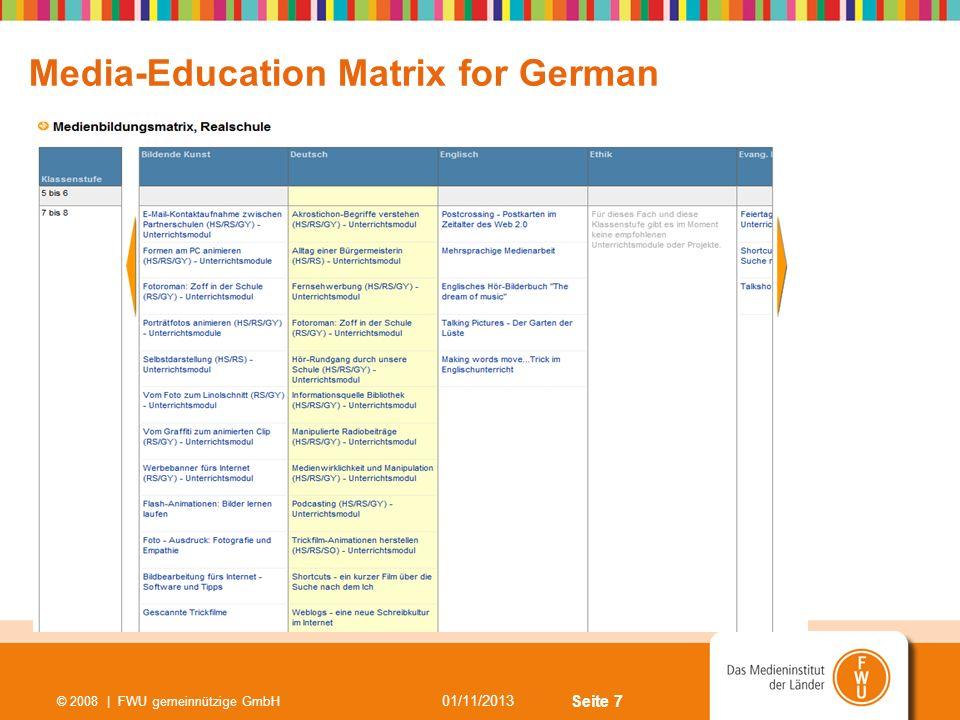 Seite 7 01/11/2013 © 2008 | FWU gemeinnützige GmbH Media-Education Matrix for German
