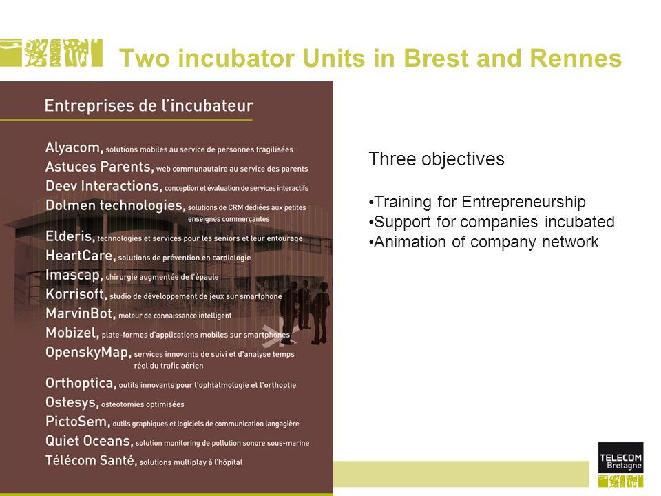 page 22 Two incubator Units in Brest and Rennes Three objectives Training for Entrepreneurship Support for companies incubated Animation of company network
