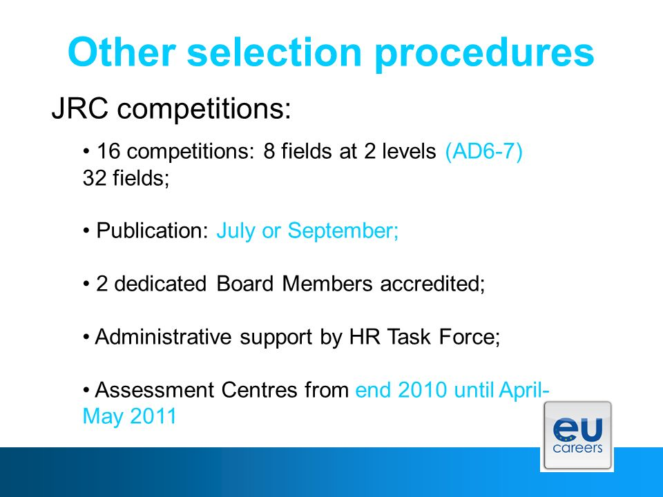 Other selection procedures JRC competitions: 16 competitions: 8 fields at 2 levels (AD6-7) 32 fields; Publication: July or September; 2 dedicated Board Members accredited; Administrative support by HR Task Force; Assessment Centres from end 2010 until April- May 2011