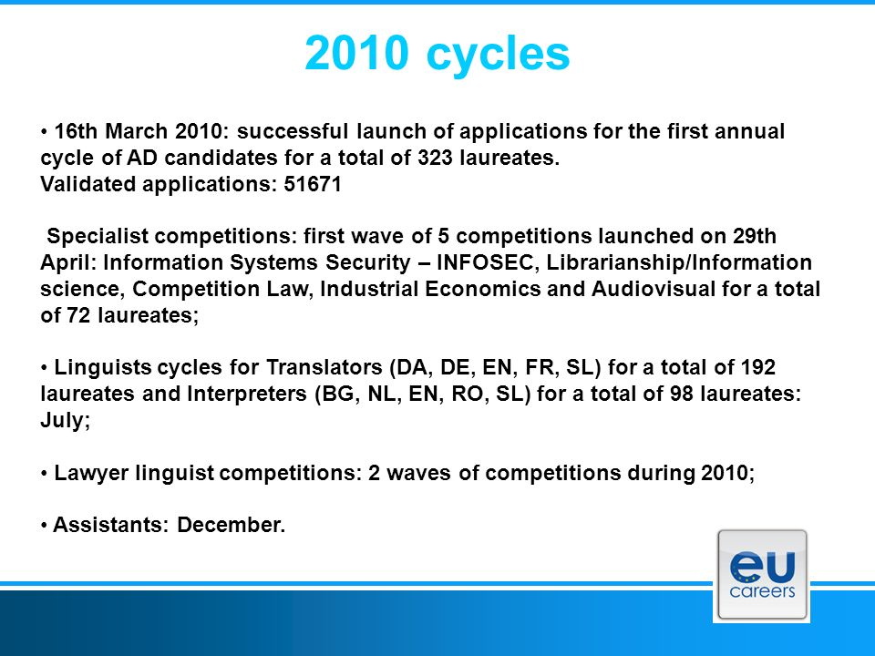 2010 cycles 16th March 2010: successful launch of applications for the first annual cycle of AD candidates for a total of 323 laureates.