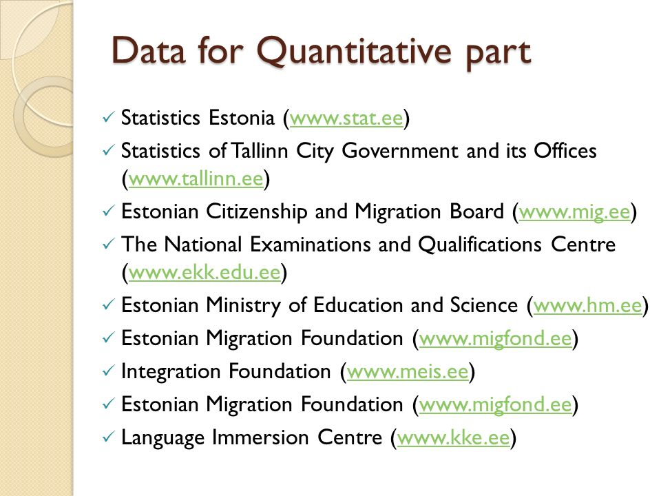 Data for Quantitative part Statistics Estonia (  Statistics of Tallinn City Government and its Offices (  Estonian Citizenship and Migration Board (  The National Examinations and Qualifications Centre (  Estonian Ministry of Education and Science (  Estonian Migration Foundation (  Integration Foundation (  Estonian Migration Foundation (  Language Immersion Centre (