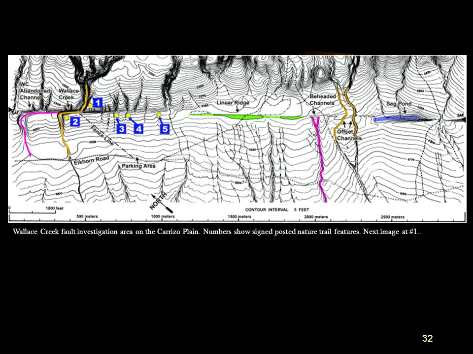 32 Wallace Creek fault investigation area on the Carrizo Plain. Numbers show signed posted nature trail features. Next image at #1..