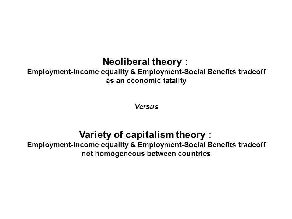 Neoliberal theory : Employment-Income equality & Employment-Social Benefits tradeoff as an economic fatality Versus Variety of capitalism theory : Employment-Income equality & Employment-Social Benefits tradeoff not homogeneous between countries