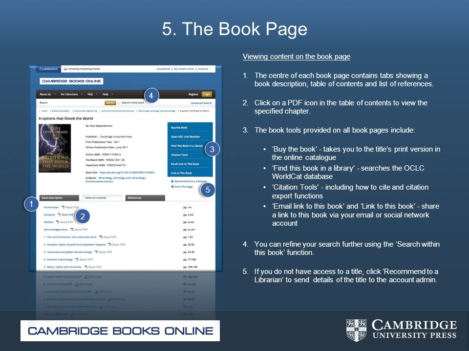5. The Book Page Viewing content on the book page 1. The centre of each book page contains tabs showing a book description, table of contents and list