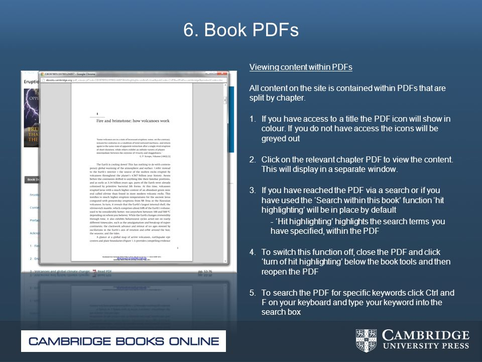 6. Book PDFs Viewing content within PDFs All content on the site is contained within PDFs that are split by chapter. 1. If you have access to a title