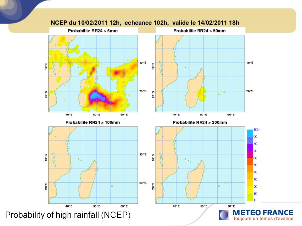 Probability of high rainfall (NCEP)