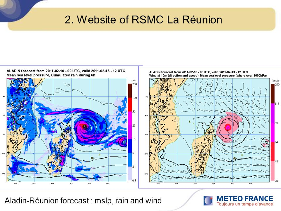 2. Website of RSMC La Réunion Aladin-Réunion forecast : mslp, rain and wind