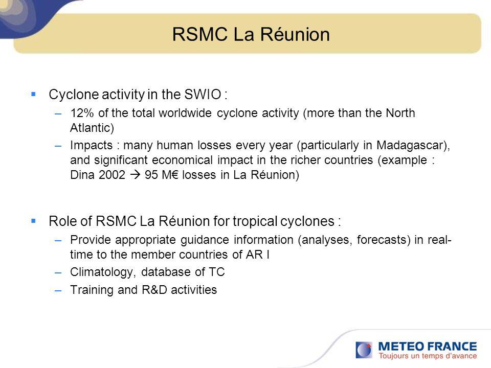 OUTLINE : Contributions of RSMC La Réunion in SWFDP Southern Africa 1.Aladin-Reunion 2.Website of RSMC La Réunion 3.R&D activities