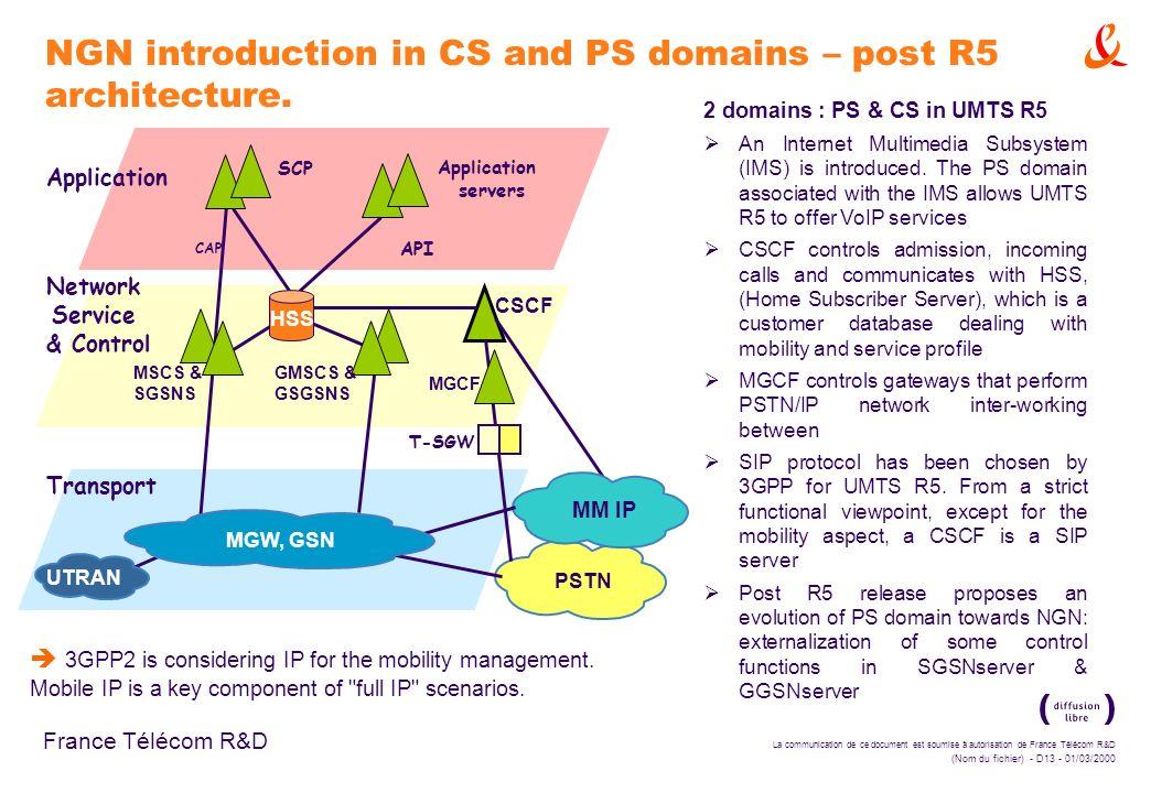 La communication de ce document est soumise à autorisation de France Télécom R&D (Nom du fichier) - D13 - 01/03/2000 France Télécom R&D NGN introducti