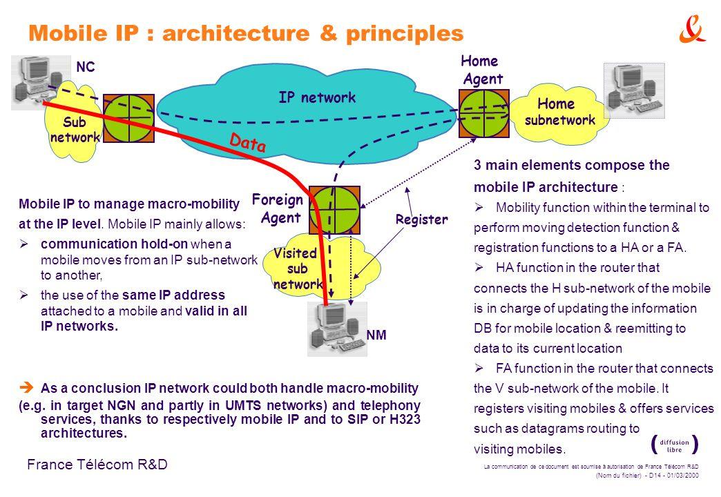 La communication de ce document est soumise à autorisation de France Télécom R&D (Nom du fichier) - D14 - 01/03/2000 France Télécom R&D Mobile IP : ar
