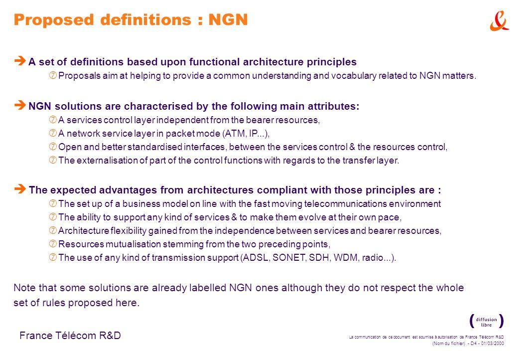 La communication de ce document est soumise à autorisation de France Télécom R&D (Nom du fichier) - D4 - 01/03/2000 France Télécom R&D Proposed defini