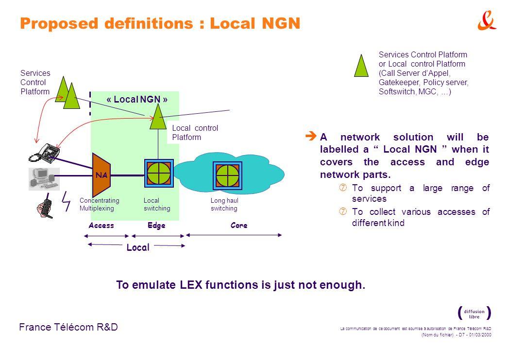 La communication de ce document est soumise à autorisation de France Télécom R&D (Nom du fichier) - D7 - 01/03/2000 France Télécom R&D « Local NGN » S