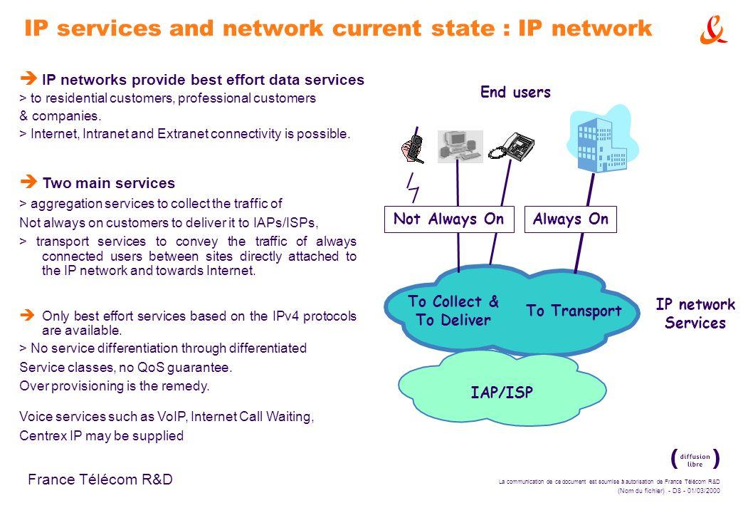 La communication de ce document est soumise à autorisation de France Télécom R&D (Nom du fichier) - D8 - 01/03/2000 France Télécom R&D IP network Serv