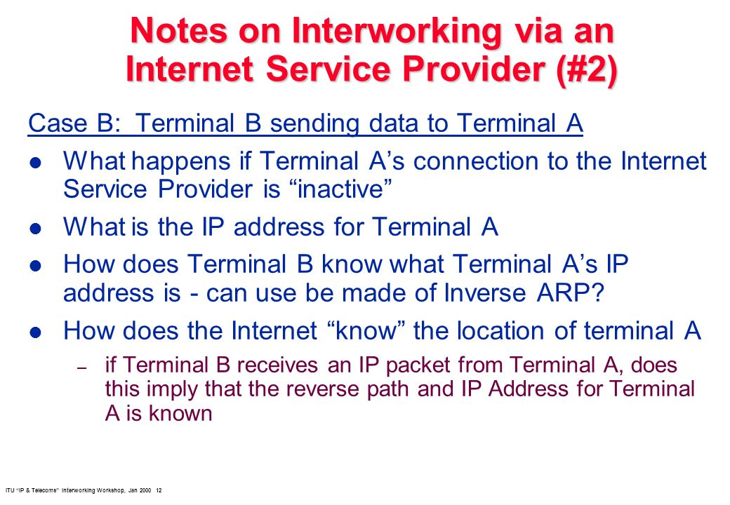 ITU IP & Telecoms Interworking Workshop, Jan 2000 12 Notes on Interworking via an Internet Service Provider (#2) Case B: Terminal B sending data to Te