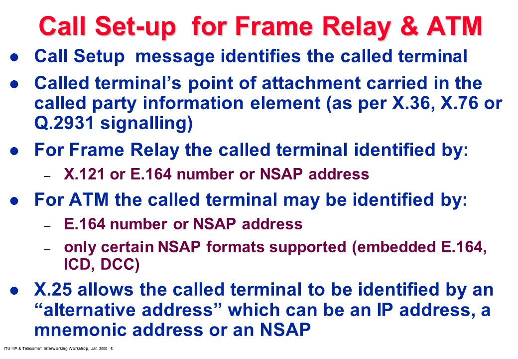 ITU IP & Telecoms Interworking Workshop, Jan 2000 6 Call Set-up for Frame Relay & ATM l Call Setup message identifies the called terminal l Called ter