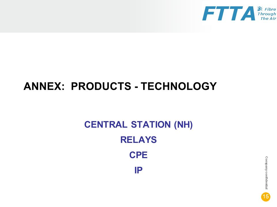 Company confidential 15 ANNEX: PRODUCTS - TECHNOLOGY CENTRAL STATION (NH) RELAYS CPE IP