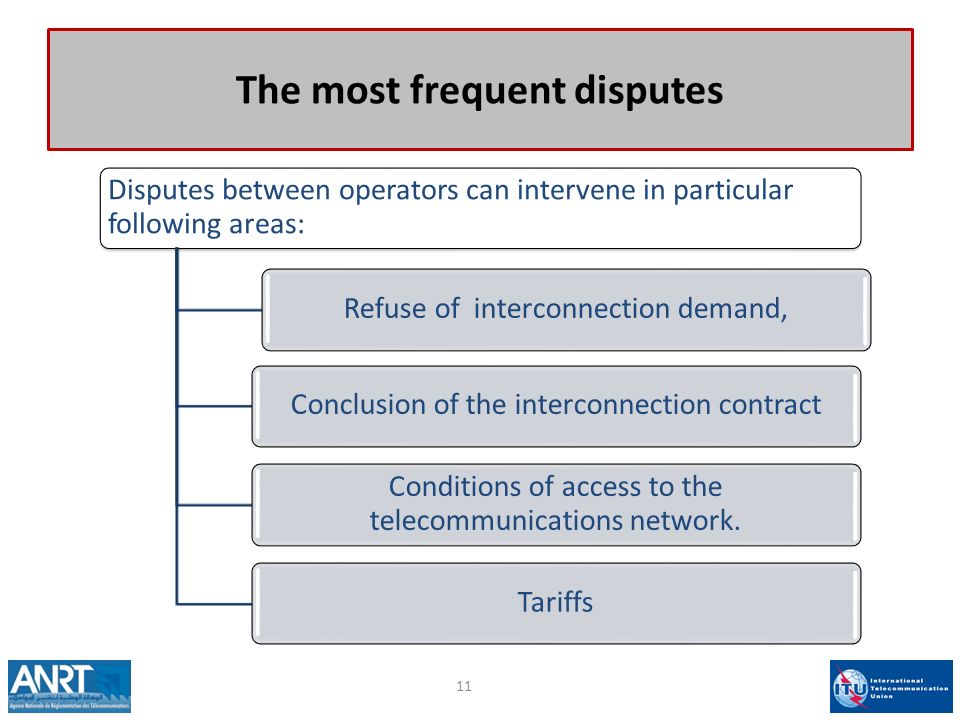 The most frequent disputes Disputes between operators can intervene in particular following areas: Refuse of interconnection demand,Conclusion of the interconnection contract Conditions of access to the telecommunications network.