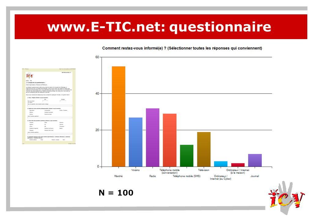 www.E-TIC.net: questionnaire N = 100