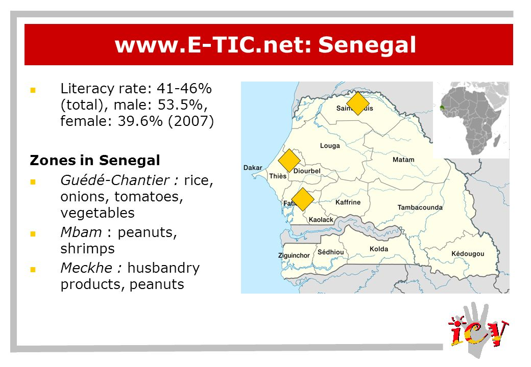 www.E-TIC.net: Mali Literacy rate: 46.4% (total), male: 53.5%, female: 39.6% (2003 est.) Zones pilotes au Mali Tombouctou : animals, fishing and rice Ségou : different types of cereals, rice, millet, husbandry products, fish Sikasso : ignames, mangos, patateos, fruits, husbandry products, cotton