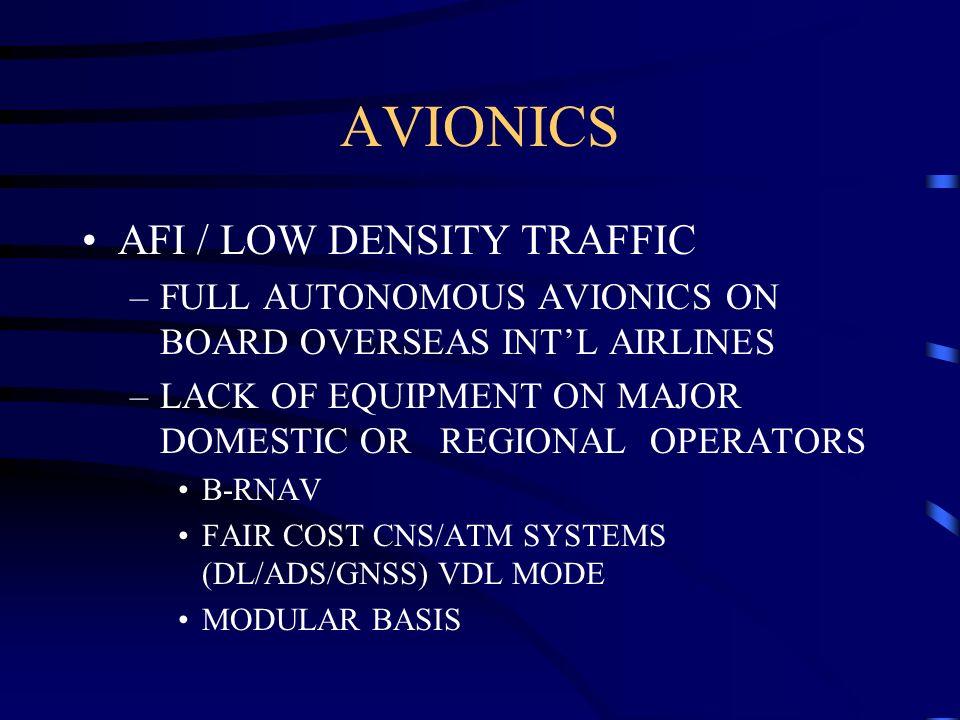 AVIONICS AFI / LOW DENSITY TRAFFIC –FULL AUTONOMOUS AVIONICS ON BOARD OVERSEAS INTL AIRLINES –LACK OF EQUIPMENT ON MAJOR DOMESTIC OR REGIONAL OPERATOR