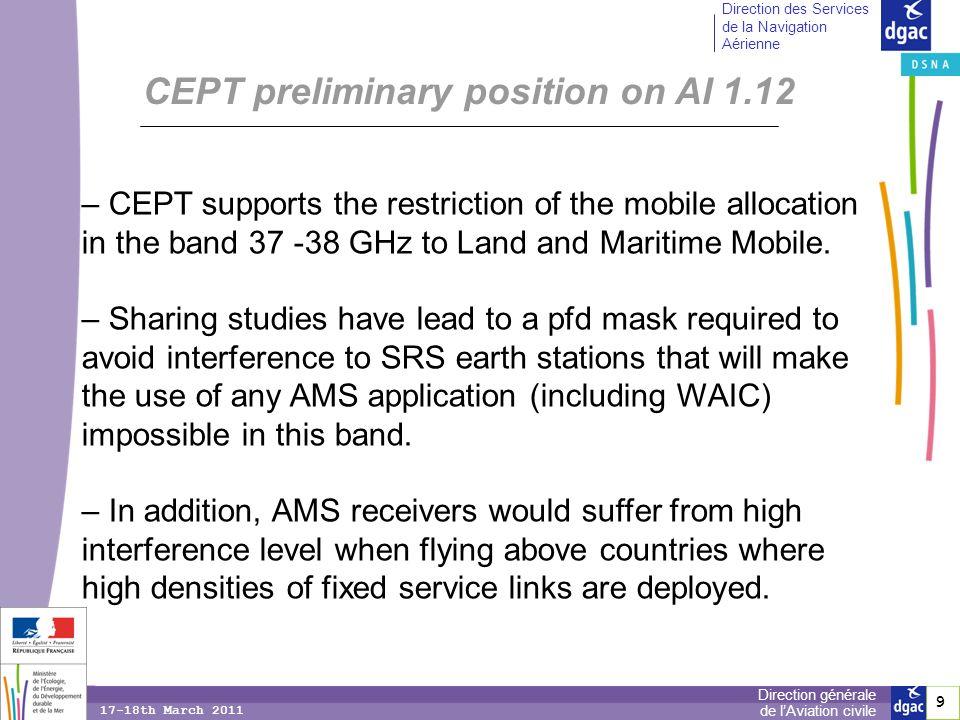 10 Direction générale de lAviation civile Direction des Services de la Navigation Aérienne 17-18th March 2011 CEPT is still investigating sharing possibilities in the frequency bands: - 5 150-5 250 MHz (MSS DL), - 10.5-10.6 GHz (MSS DL), - 13.25-13.4 GHz (MSS DL), - 15.43 -15.63 GHz (MSS UL).
