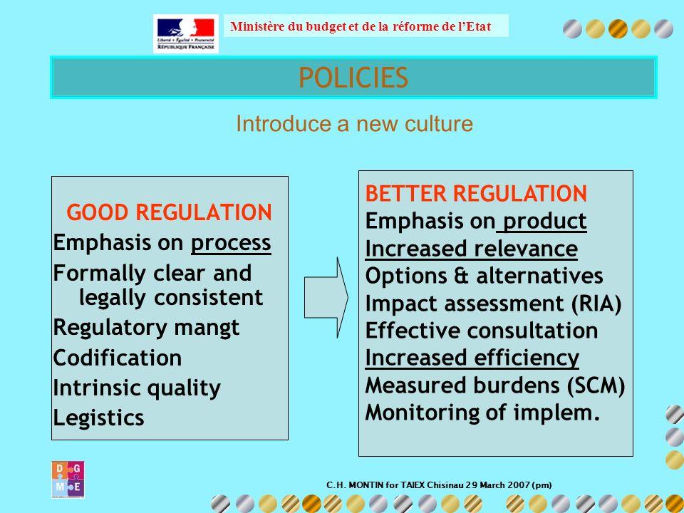 C.H. MONTIN for TAIEX Chisinau 29 March 2007 (pm) Ministère du budget et de la réforme de lEtat GOOD REGULATION Emphasis on process Formally clear and
