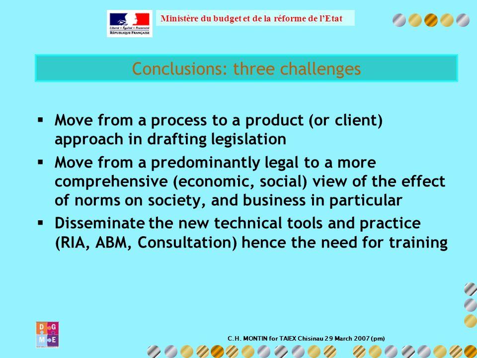 C.H. MONTIN for TAIEX Chisinau 29 March 2007 (pm) Ministère du budget et de la réforme de lEtat Conclusions: three challenges Move from a process to a