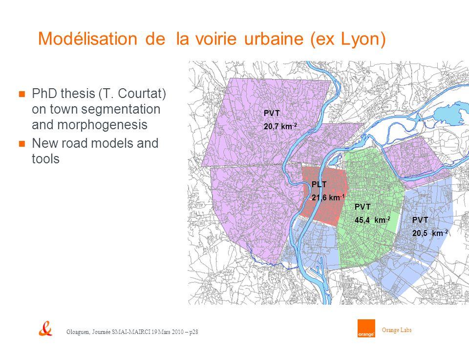 Orange Labs Gloaguen, Journée SMAI-MAIRCI 19 Mars 2010 – p28 Modélisation de la voirie urbaine (ex Lyon) PhD thesis (T. Courtat) on town segmentation